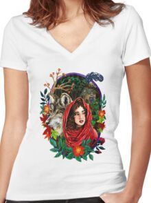 Little Red Watercolor Sticker Women's Fitted V-Neck T-Shirt