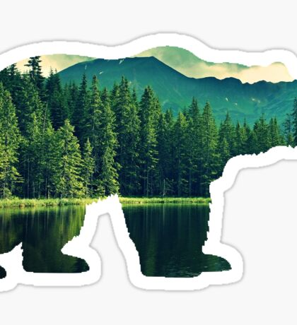 grizzly bear silhouette Sticker