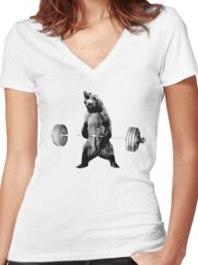 Grizzly Bear Deadlifting Women's Fitted V-Neck T-Shirt