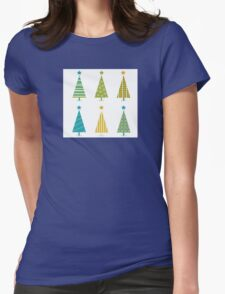Funky retro christmas tree design. In six shape variants! Vector illustration Womens Fitted T-Shirt
