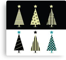 Black & white christmas tree design Canvas Print