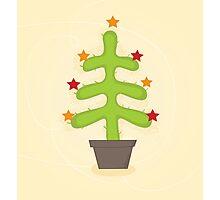 Christmas cactus tree. Retro christmas cactus tree design Photographic Print