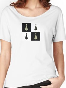 Black and white christmas trees. Geometric christmas trees in 2 colors Women's Relaxed Fit T-Shirt