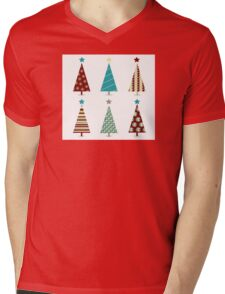 Blue - red christmas tree icon set. Retro christmas trees isolated on white Mens V-Neck T-Shirt