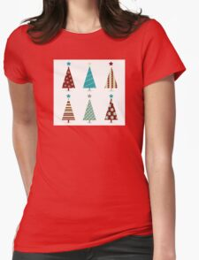 Blue - red christmas tree icon set. Retro christmas trees isolated on white Womens Fitted T-Shirt