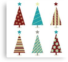 Blue - red christmas tree icon set. Retro christmas trees isolated on white Canvas Print