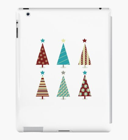 Blue - red christmas tree icon set. Retro christmas trees isolated on white iPad Case/Skin