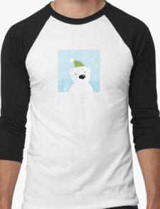 White polar bear on snow. Cute polar bear character with snowy background Men's Baseball ¾ T-Shirt