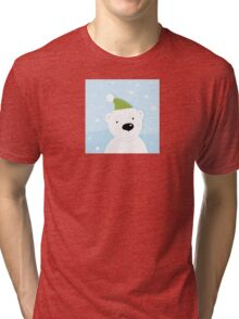 White polar bear on snow. Cute polar bear character with snowy background Tri-blend T-Shirt