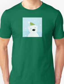 White polar bear on snow. Cute polar bear character with snowy background Unisex T-Shirt