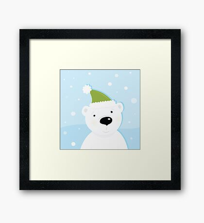 White polar bear on snow. Cute polar bear character with snowy background Framed Print