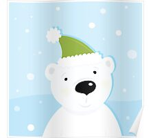 White polar bear on snow. Cute polar bear character with snowy background Poster