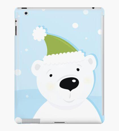 White polar bear on snow. Cute polar bear character with snowy background iPad Case/Skin
