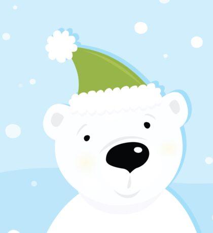 White polar bear on snow. Cute polar bear character with snowy background Sticker