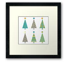 Retro christmas trees icon set. Retro christmas trees in retro design Framed Print