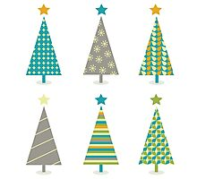 Retro christmas trees icon set. Retro christmas trees in retro design Photographic Print