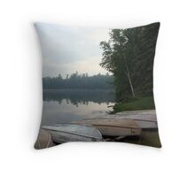Rowboats in Fog Throw Pillow