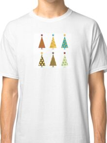 Retro christmas tree elements. Christmas trees design elements isolated on white Classic T-Shirt