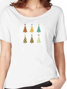 Retro christmas tree elements. Christmas trees design elements isolated on white Women's Relaxed Fit T-Shirt