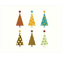 Retro christmas tree elements. Christmas trees design elements isolated on white Art Print