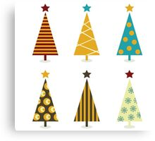 Retro christmas tree elements. Christmas trees design elements isolated on white Canvas Print