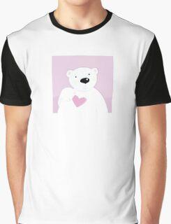 Polar bear with love heart. Cute polar bear character with pink heart Graphic T-Shirt