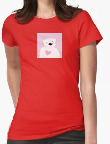 Polar bear with love heart. Cute polar bear character with pink heart Womens Fitted T-Shirt