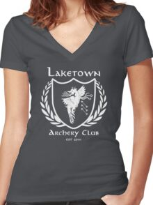 Laketown Archery Club (White) Women's Fitted V-Neck T-Shirt