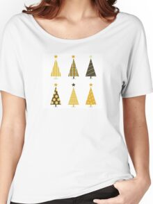 Retro christmas tree isolated on white. Six retro christmas trees on white background Women's Relaxed Fit T-Shirt
