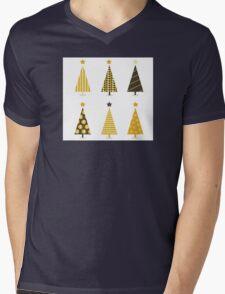 Retro christmas tree isolated on white. Six retro christmas trees on white background Mens V-Neck T-Shirt