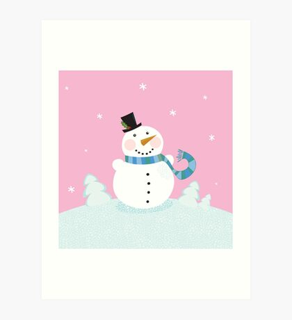 Christmas snowman on pink background. Cute snowman in christmas snowy nature. Vector cartoon illustration. Art Print
