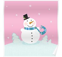 Christmas snowman on pink background. Cute snowman in christmas snowy nature. Vector cartoon illustration. Poster