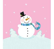 Christmas snowman on pink background. Cute snowman in christmas snowy nature. Vector cartoon illustration. Photographic Print