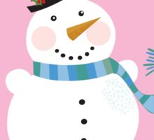 Christmas snowman on pink background. Cute snowman in christmas snowy nature. Vector cartoon illustration. Sticker