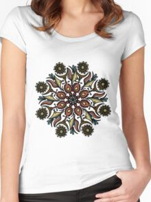 floral mandala pattern Women's Fitted Scoop T-Shirt
