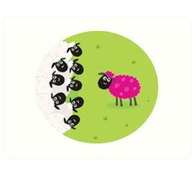 One pink sheep is lonely in the middle of white sheep family Art Print