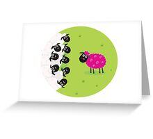 One pink sheep is lonely in the middle of white sheep family Greeting Card