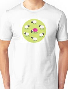 One pink sheep is lonely in the middle of white sheep family Unisex T-Shirt