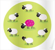 One pink sheep is lonely in the middle of white sheep family Poster