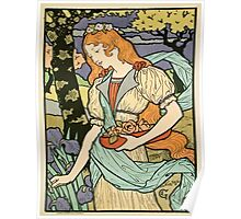 Vintage poster - Woman with flowers Poster