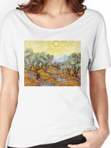Van Gogh - Olive Trees with Yellow Sky and Sun Women's Relaxed Fit T-Shirt
