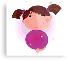 Small girl with sweet lollipop isolated on white background Metal Print