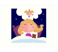 Small girl is sleeping and dreaming about princess Art Print
