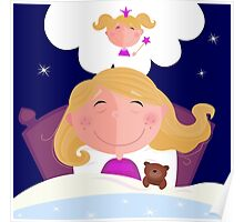 Small girl is sleeping and dreaming about princess Poster