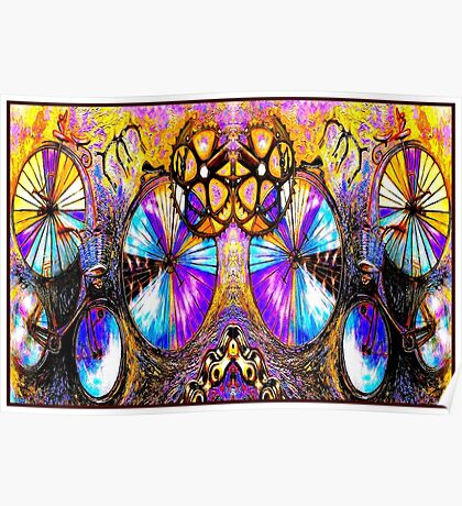 BICYCLES ABSTRACT ART; Whimsical Painting Print Poster