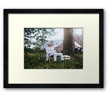 "Thomas Edison Relaxing on a ""Vagabonds"" Camping Trip, 1921 Framed Print"