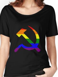 Gay Pride Rainbow Soviet Hammer And Sickle Women's Relaxed Fit T-Shirt