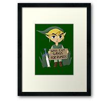 Legend of Zelda - Link - Cut Grass for Rupees Framed Print