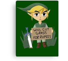 Legend of Zelda - Link - Cut Grass for Rupees Canvas Print