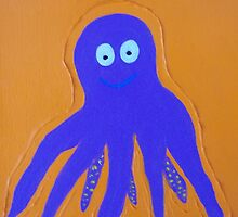 Purple Octopus on Orange Background by hollycannell